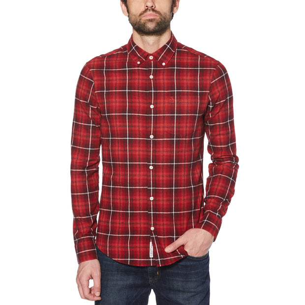 PLAID LONG SLEEVE SHIRT IN ROCOCCO RED