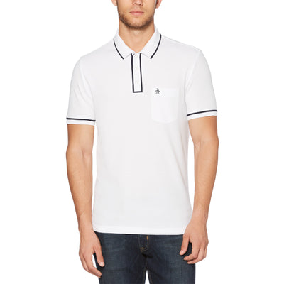 THE EARL POLO SHIRT IN BRIGHT WHITE/DARK SAPPHIRE