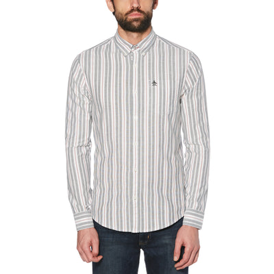 VERTICAL STRIPE SHIRT IN BRIGHT WHITE