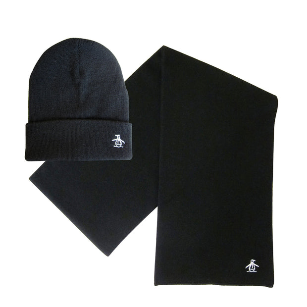 PREZ HAT AND SCARF SET IN TRUE BLACK