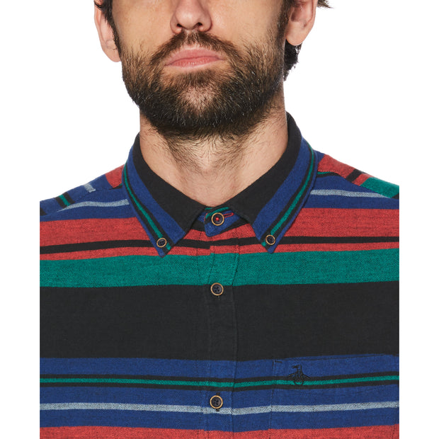 Blanket Stripe Flannel Shirt In True Black