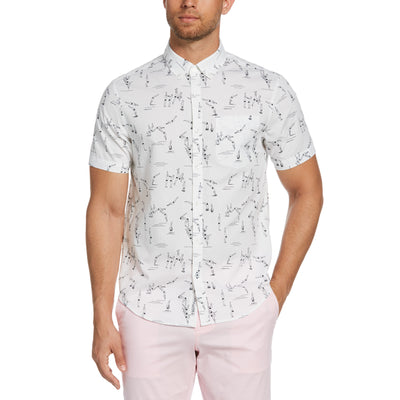 Diver Print Poplin Shirt In Bright White
