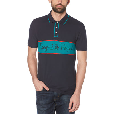 Script Logo Chest Stripe Polo Shirt In Dark Sapphire