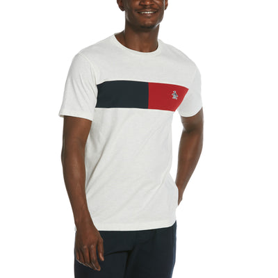 Colour Block Chest Stripe T-Shirt In Light Grey Melange