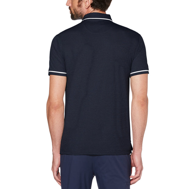 Oxford Texture Golf Polo Shirt In Black Iris