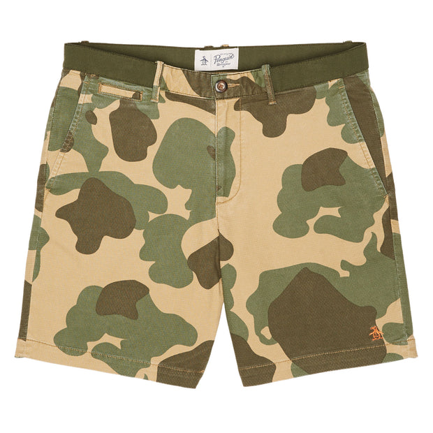 Camo Slim Fit Shorts In Kelp
