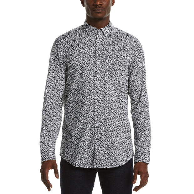 Geometric Line Print Shirt In Bright White