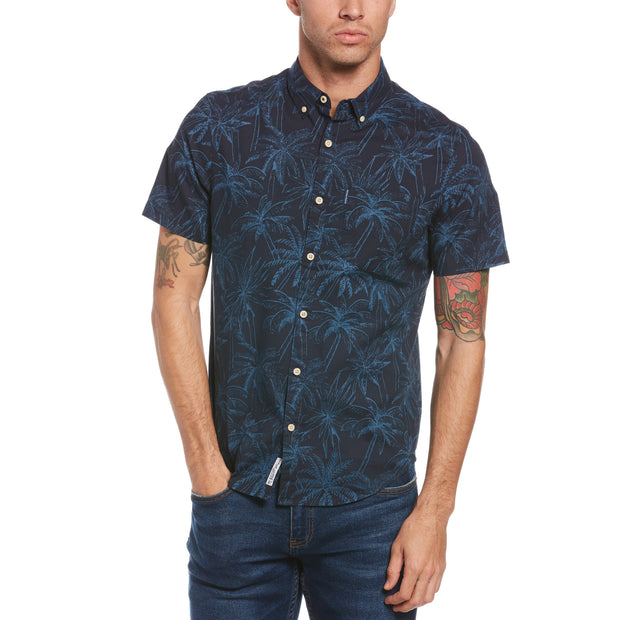 Indigo Floral Print Short Sleeve Shirt In Dark Sapphire