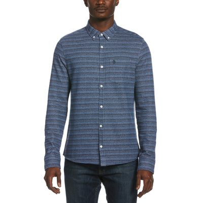 French Terry Stripe Shirt In Dark Sapphire