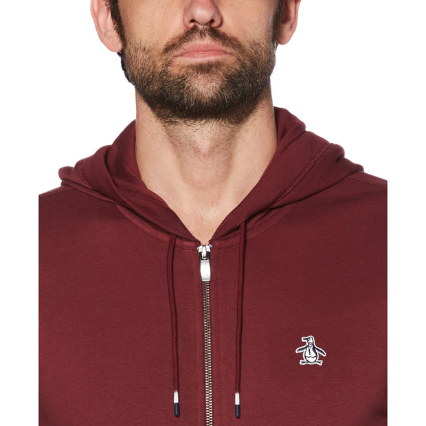 STICKER PETE FLEECE FULL ZIP HOODIE IN TAWNY PORT