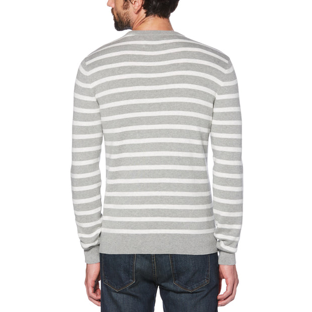 BRETON STRIPE CREW NECK SWEATER IN RAIN HEATHER