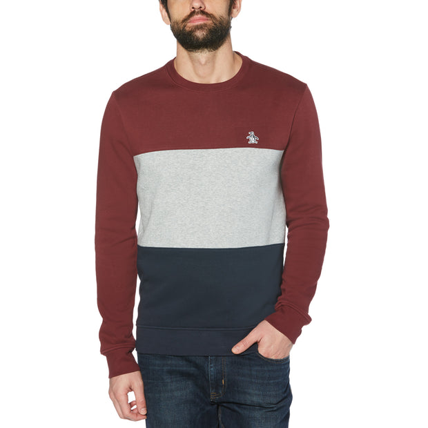 Colour Block Fleece Sweatshirt In Tawny Port
