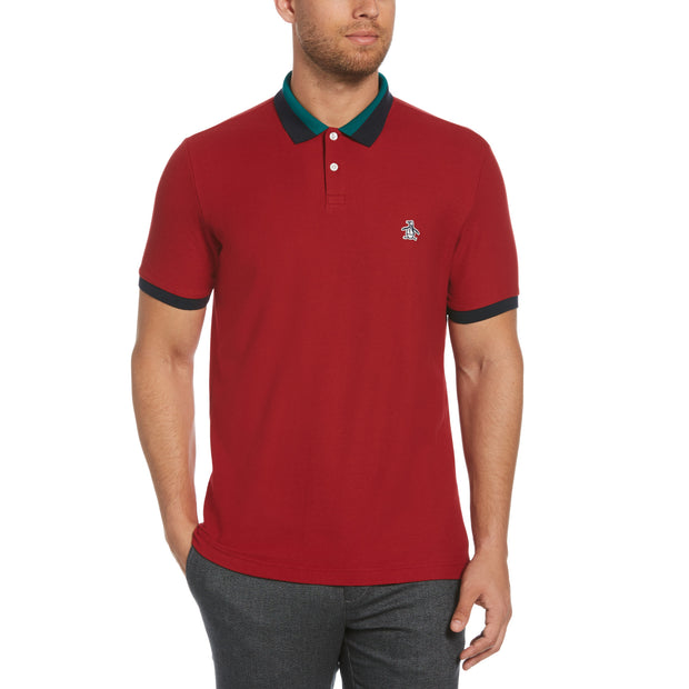 Striped Collar Polo Shirt In Red Dahlia
