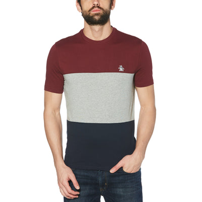 COLOUR BLOCK T-SHIRT IN TAWNY PORT