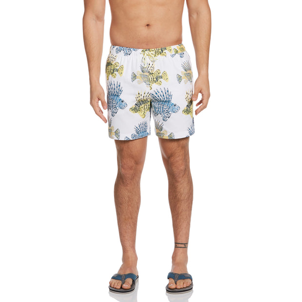 Fish Print Swim Short In Bright White
