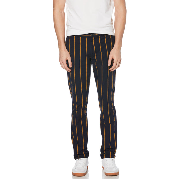Vertical Stripe Slim Fit Chino In Dark Sapphire