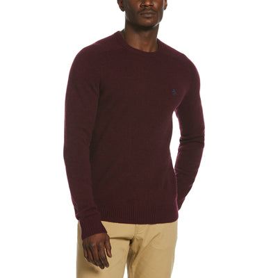Lambswool Crew Neck Sweater In Tawny Port