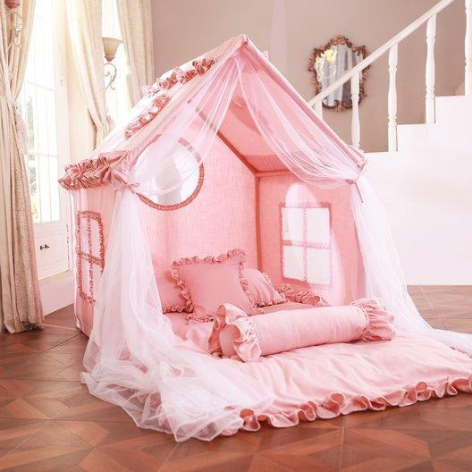 Girl indoor tent pink princess tent with lights and curtains