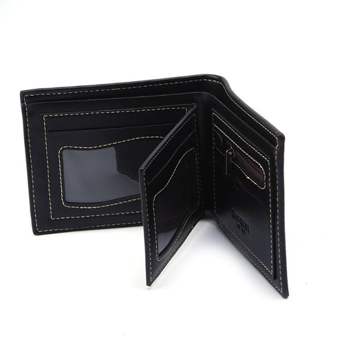 Fashion Men Bifold Business Wallet Money Purse Card Holder Coin Pocket Bag  Synthetic Leather 2 Colors Photo Holders