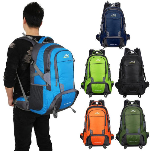 50L Waterproof Nylon Backpack Mountaineering Rucksack Camping Travel Hiking Knapsack Sports Travel Bag For Women Men, 6Colors