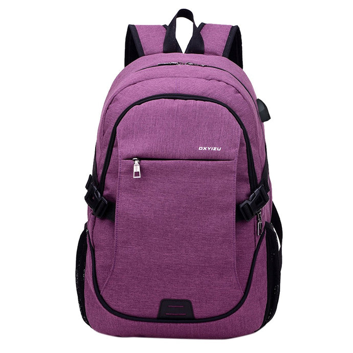 Outdoor Backpack Smart USB Charging Shoulder Bag Oxford Cloth Casual Fashion Business Travling Wearproof Breathable Laptop Computer School Bag