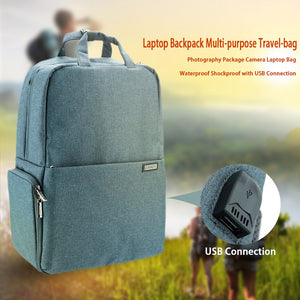 Laptop Backpack Multi-purpose Travel-bag Photography Package Camera Laptop Bag Waterproof Shockproof with USB Connection