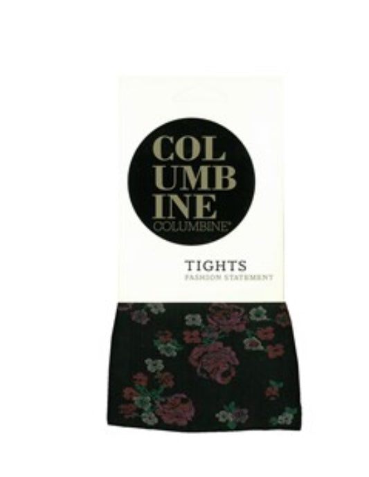 Columbine Textured Floral Opaque tights. 1573