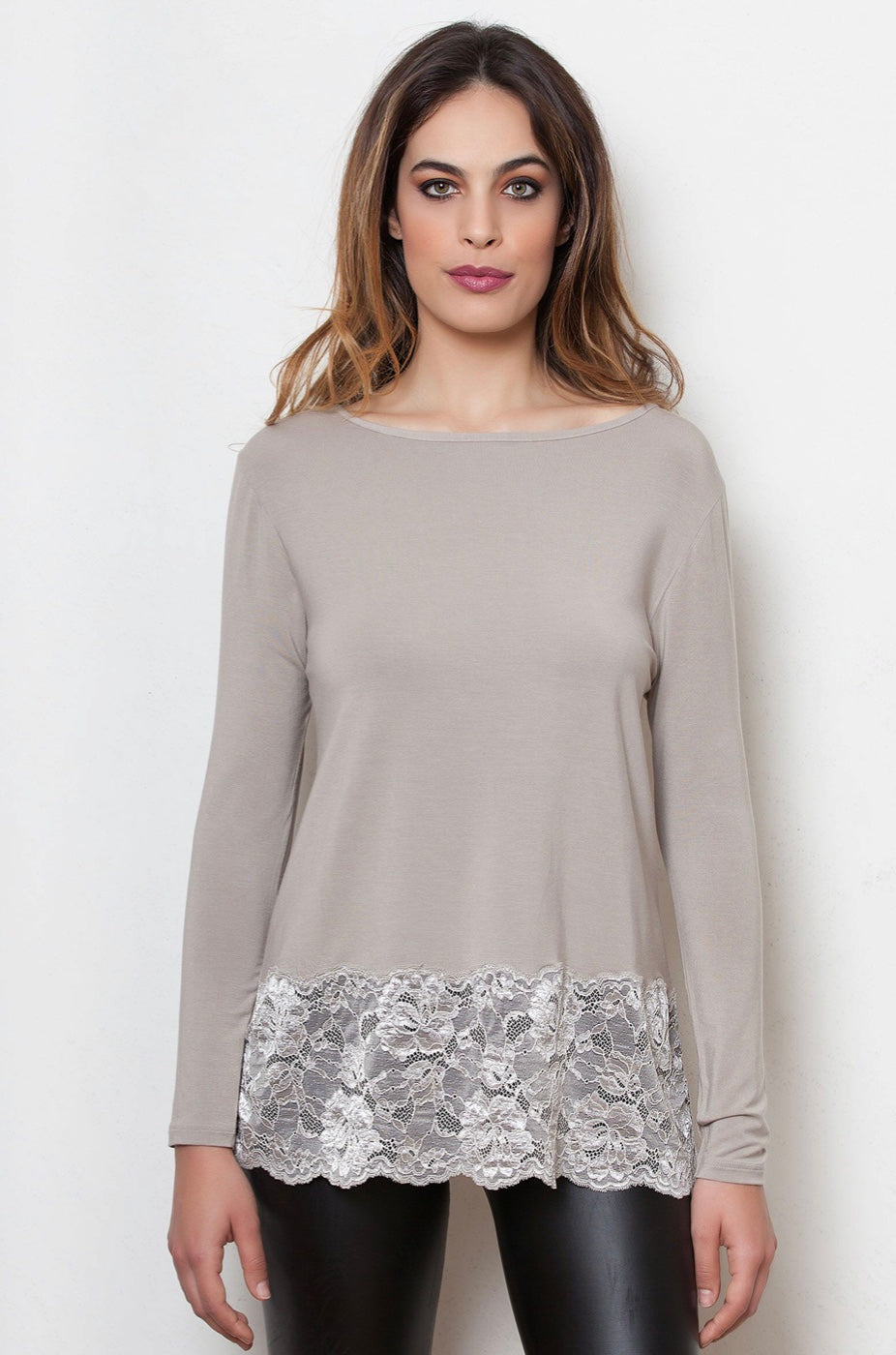 EGI Long Sleeved micromodal and lace top 1758