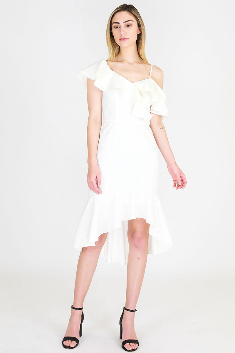 3rd Love Asymmetrical Frill Shoulder Dress