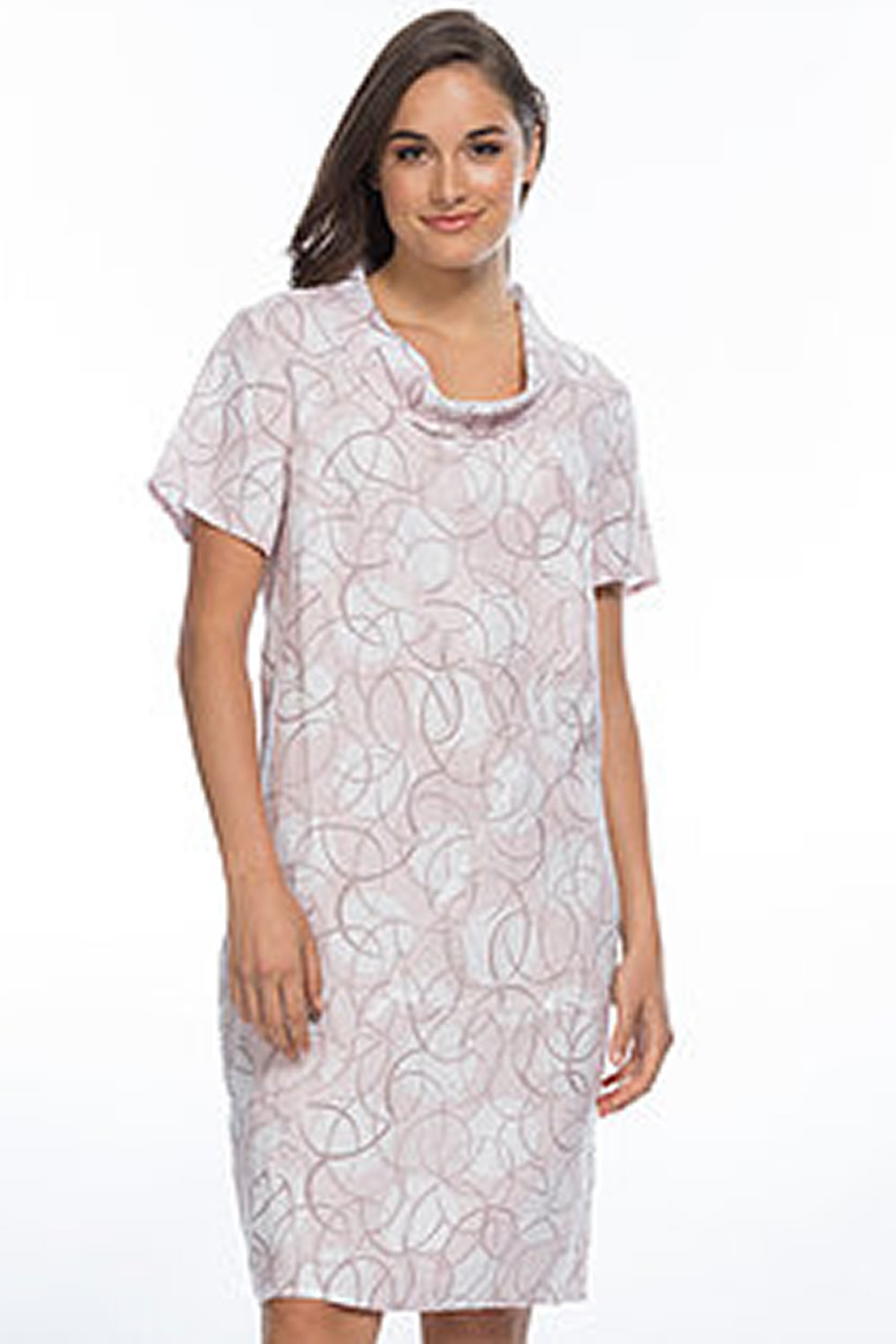 Gordon Smith Cowl Neck Circular Print Dress
