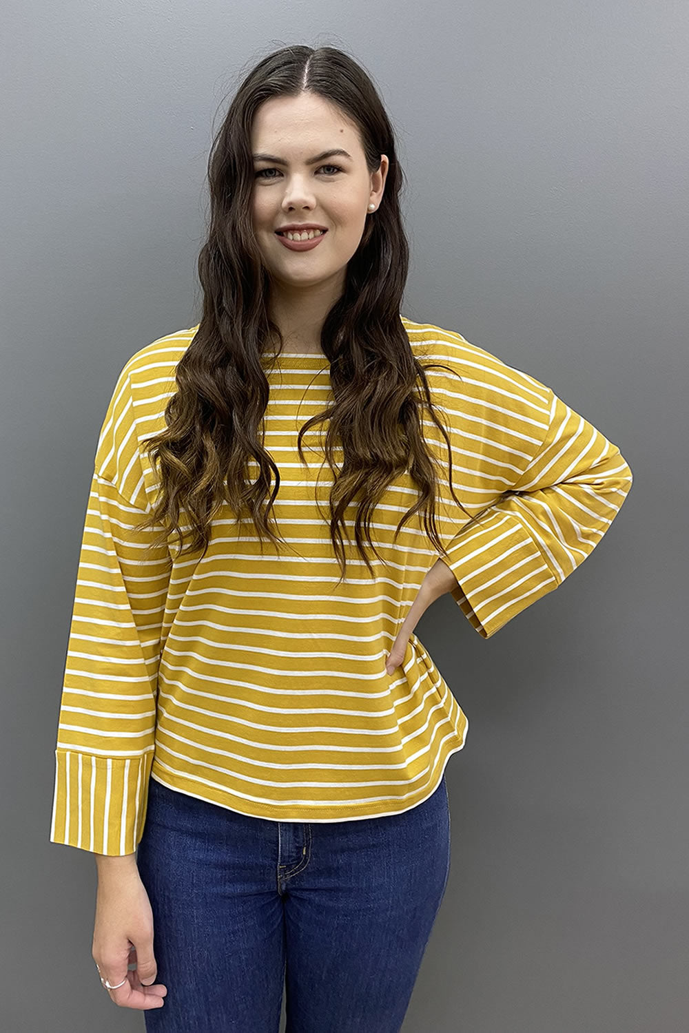 Worthier Striped Boat Neck Top
