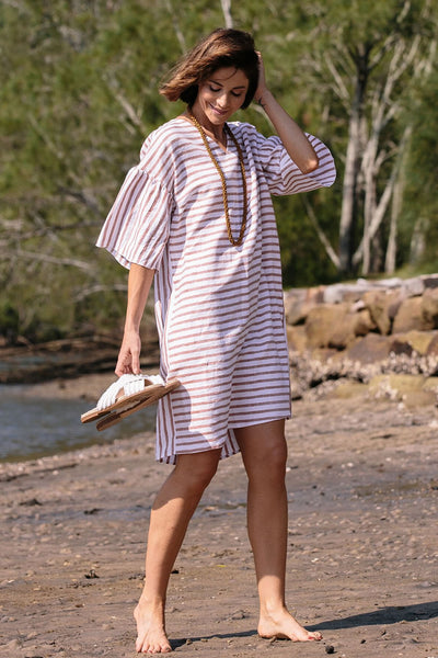 See Saw Linen V Neck Dress