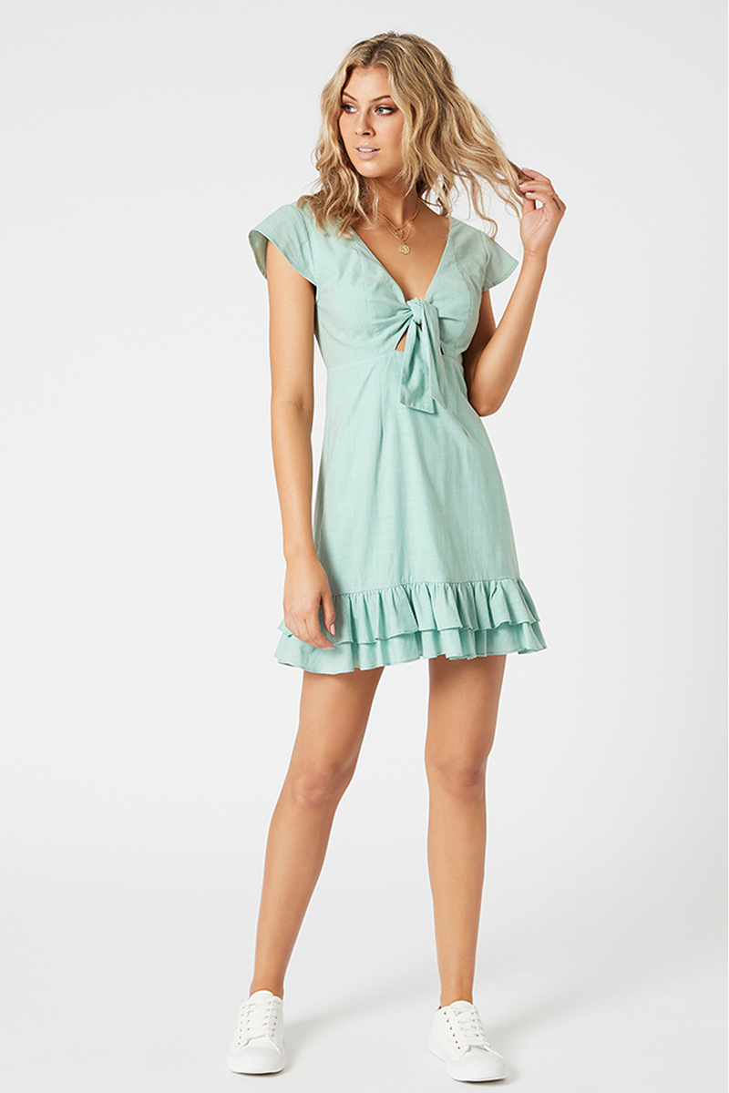 Mink Pink Brooke Tie Front Mini Dress