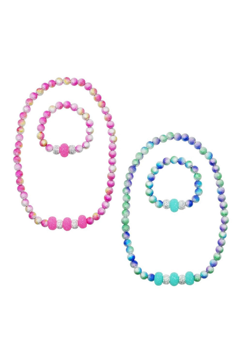 Pink Poppy Ombre Sparkle Necklace and Bracelet Set