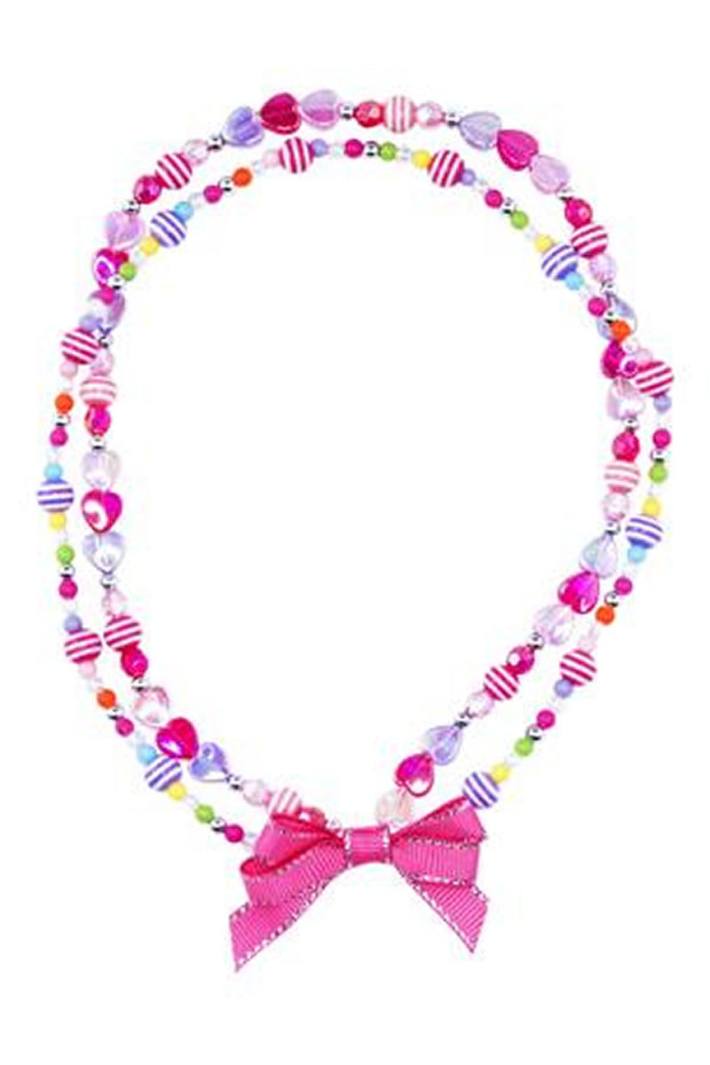 Pink Poppy Ribbon Bow Necklace