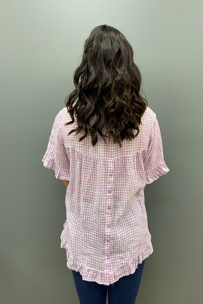 Worthier Button Back Check Linen Top