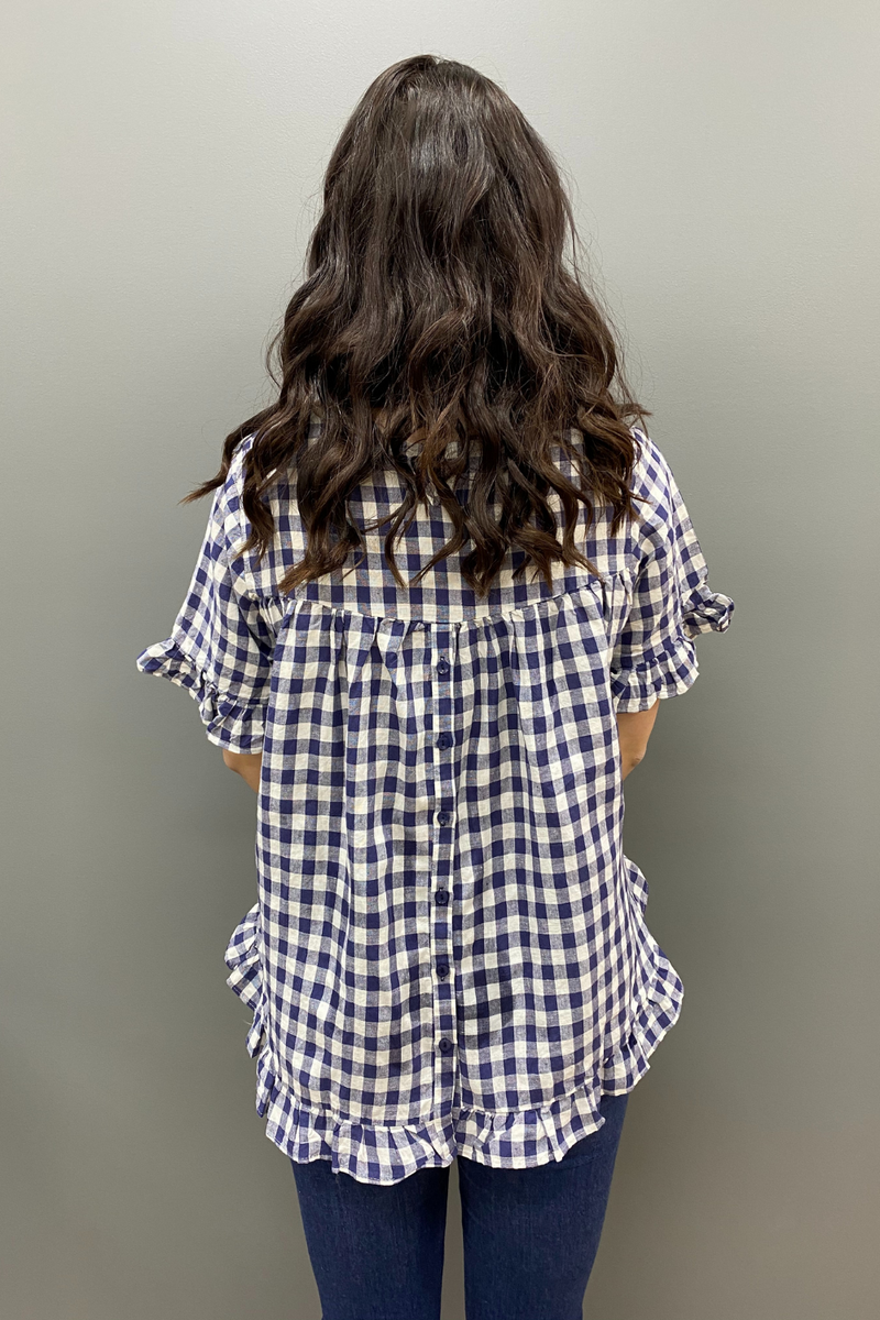 Worthier Button Back Linen Check Top