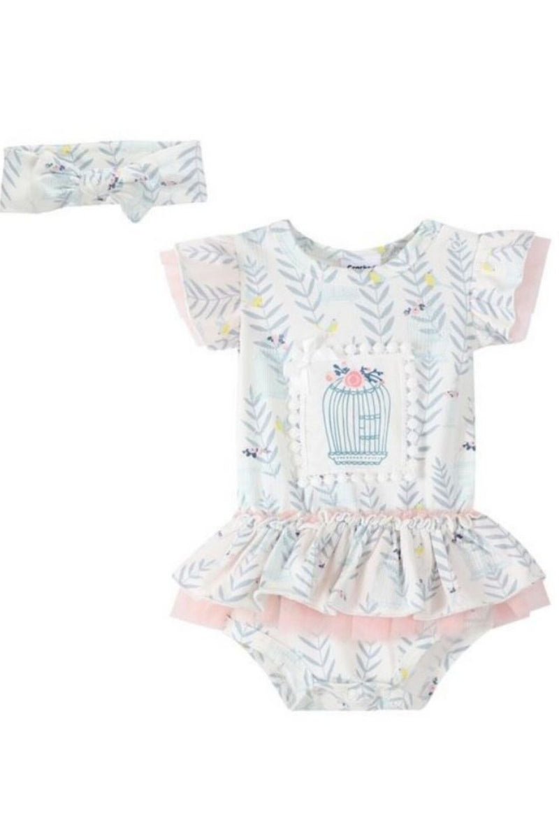 Cracked Soda Birdcage Bodysuit Dress and Headband