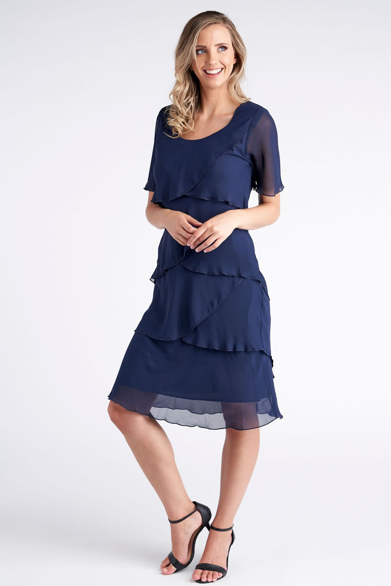 Vivid Chiffon Layered Dress