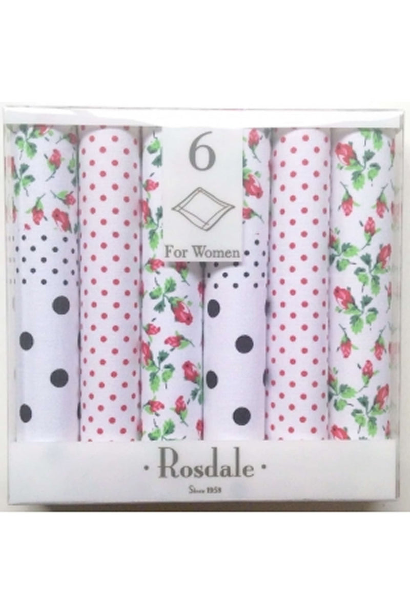 Rosedale Ladies Box of 6 Floral Hankerchiefs