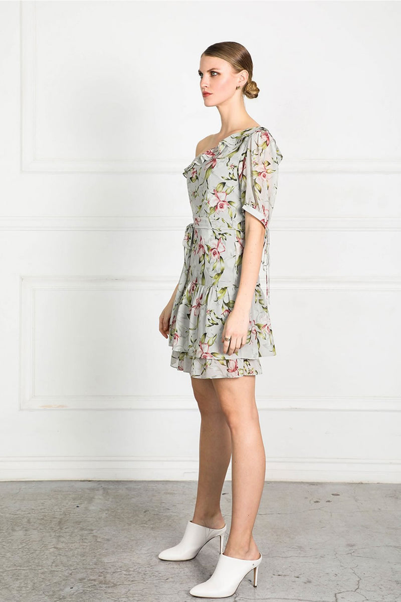 Shilla Obtain Pearl Floral One Shoulder Dress