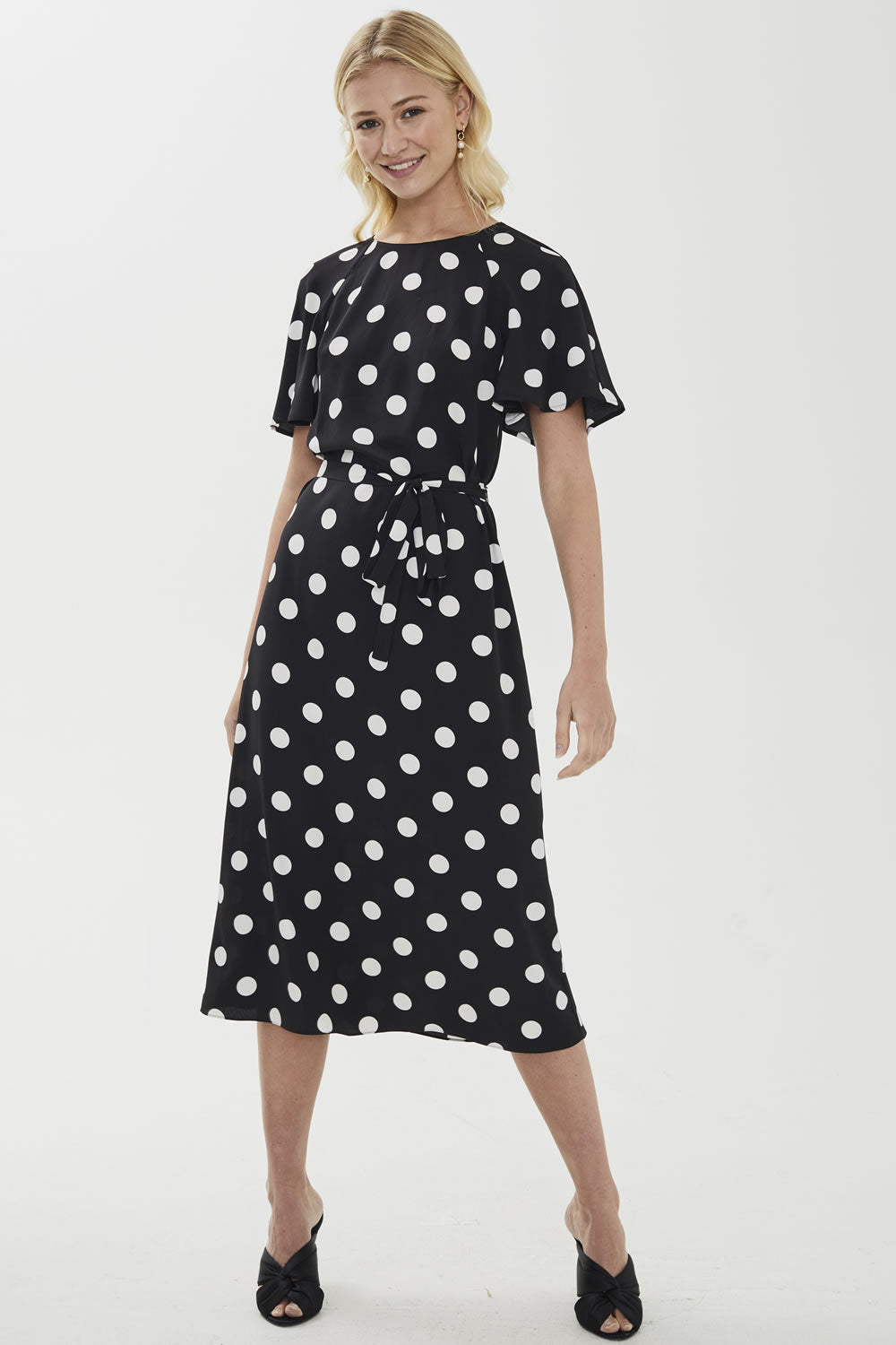 Cooper St Polka Dot Flutter Sleeve Midi Dress