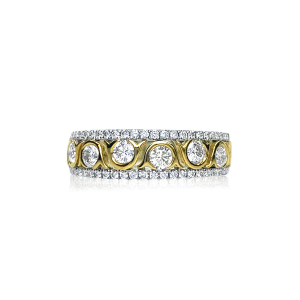Two-Tone Diamond Wave Ring — .78 Carats in 18k White Gold