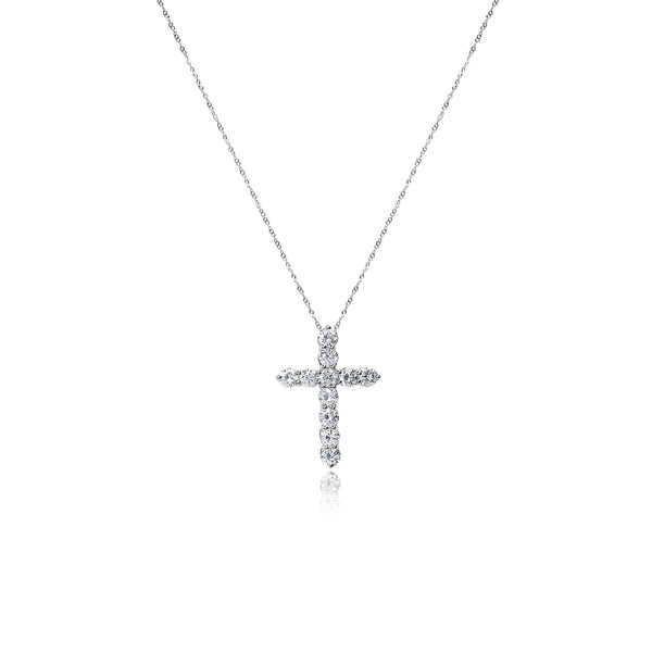 Diamond Cross Pendant Necklace in 14k White Gold