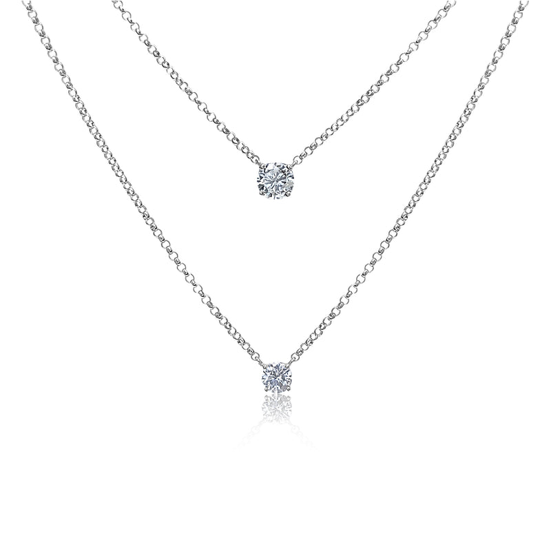 Diamond Solitaire Necklaces in 14k White Gold
