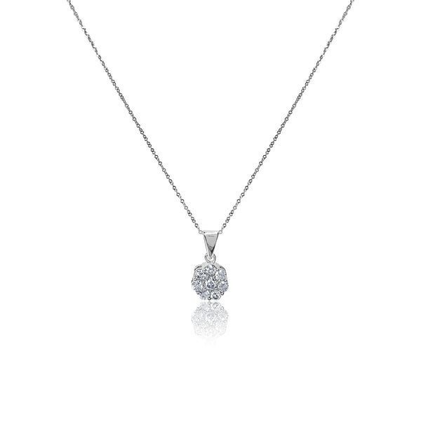Diamond Flower Pendant Necklace In 14k White Gold