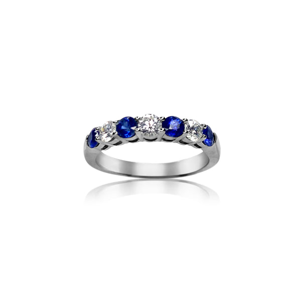 Sapphire & Diamond Band in 18k White Gold