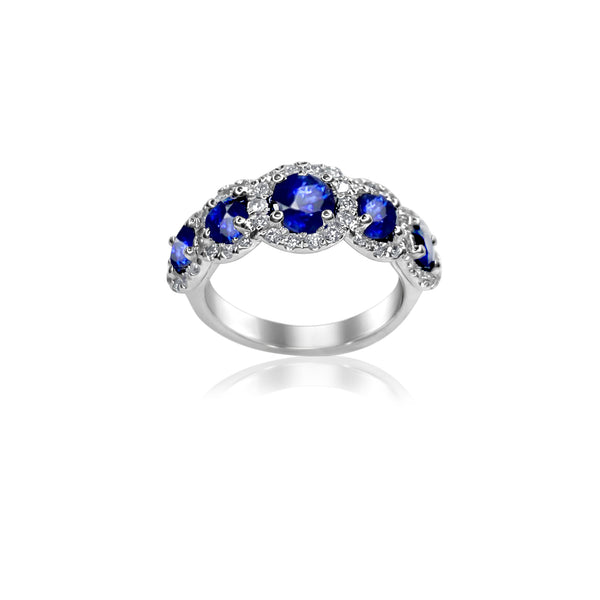 Sapphire & Diamond Halo Ring in 14k White Gold