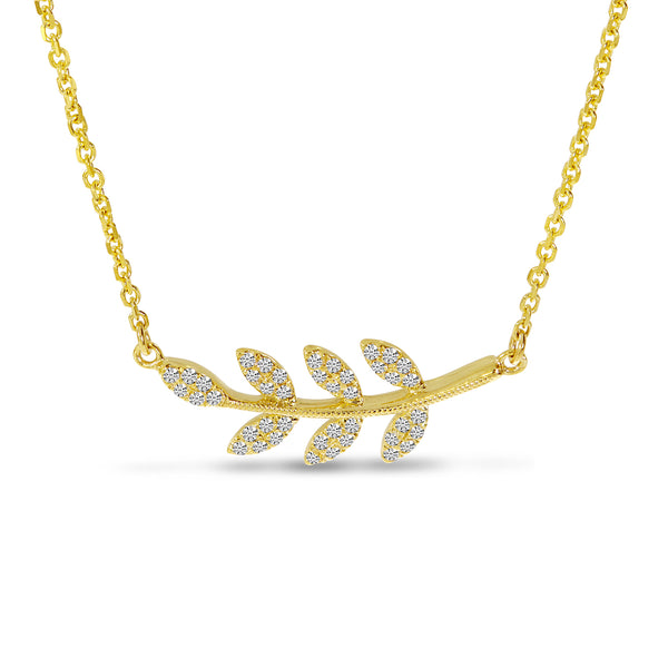 Diamond Leaf Necklace in 14K Yellow Gold