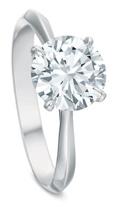 Claw 4-Prong Low-Profile Solitaire Diamond Ring